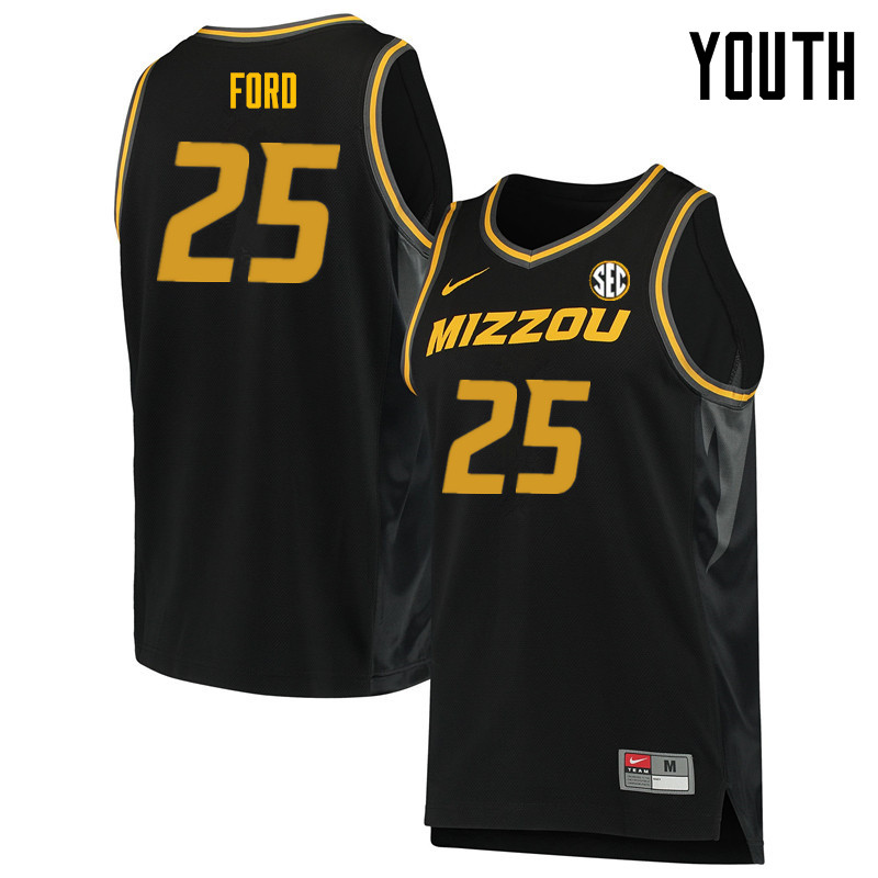 Youth #25 Brooks Ford Missouri Tigers College Basketball Jerseys Sale-Black
