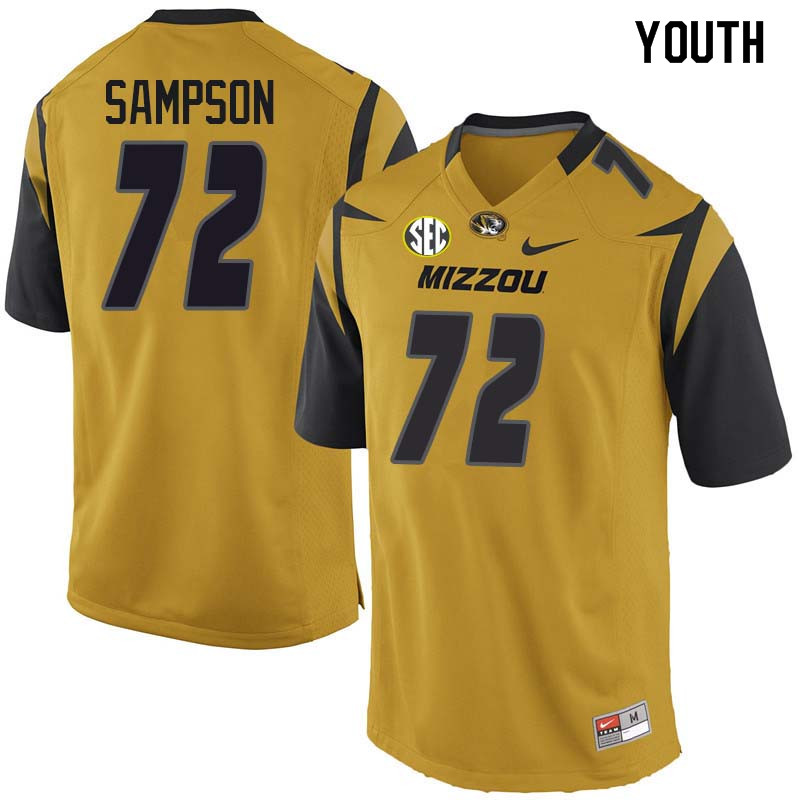 Youth #72 Caleb Sampson Missouri Tigers College Football Jerseys Sale-Yellow