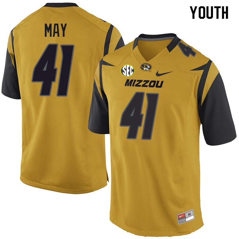 Youth #41 Chance May Missouri Tigers College Football Jerseys Sale-Yellow