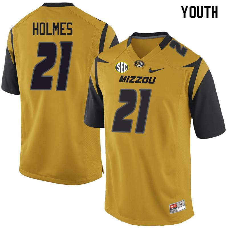 Youth #21 Christian Holmes Missouri Tigers College Football Jerseys Sale-Yellow