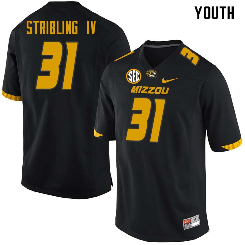 Youth #31 Finis Stribling IV Missouri Tigers College Football Jerseys Sale-Black