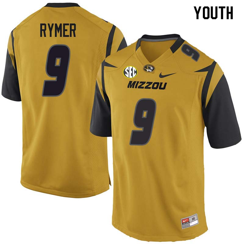 Youth #9 Hayden Rymer Missouri Tigers College Football Jerseys Sale-Yellow