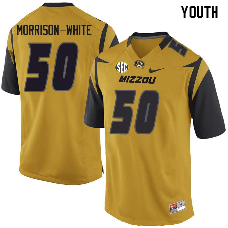 Youth #50 Hyrin Morrison-White Missouri Tigers College Football Jerseys Sale-Yellow