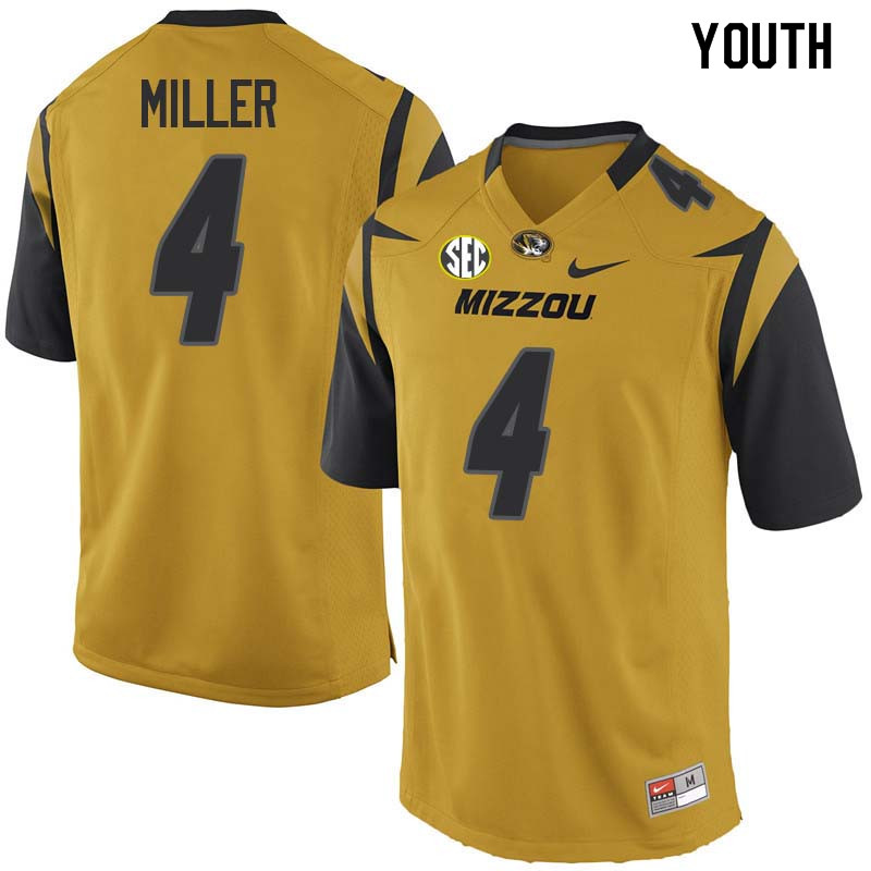 Youth #4 Isaiah Miller Missouri Tigers College Football Jerseys Sale-Yellow
