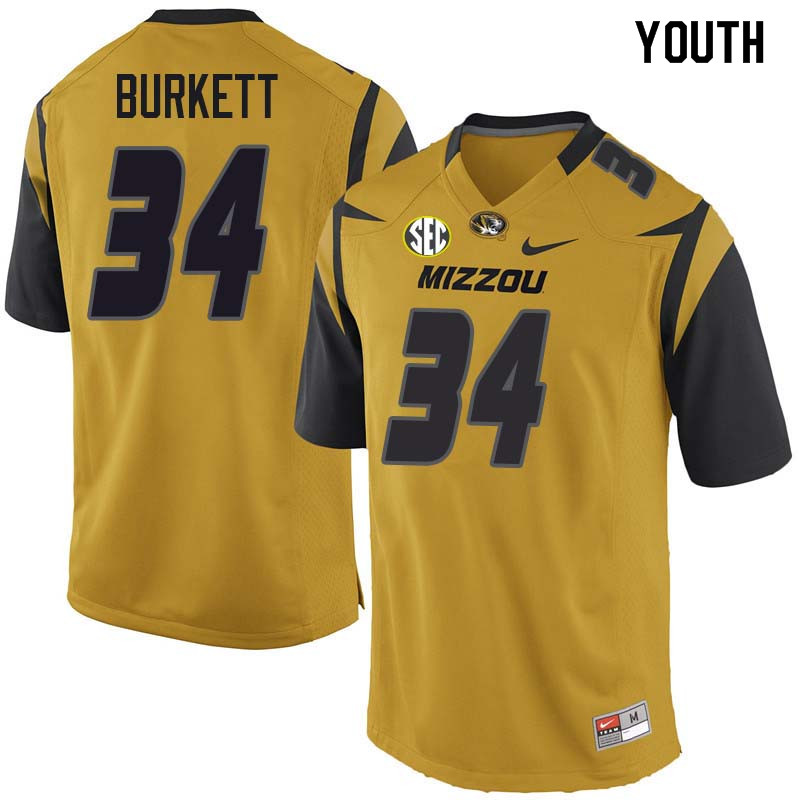 Youth #34 Joey Burkett Missouri Tigers College Football Jerseys Sale-Yellow