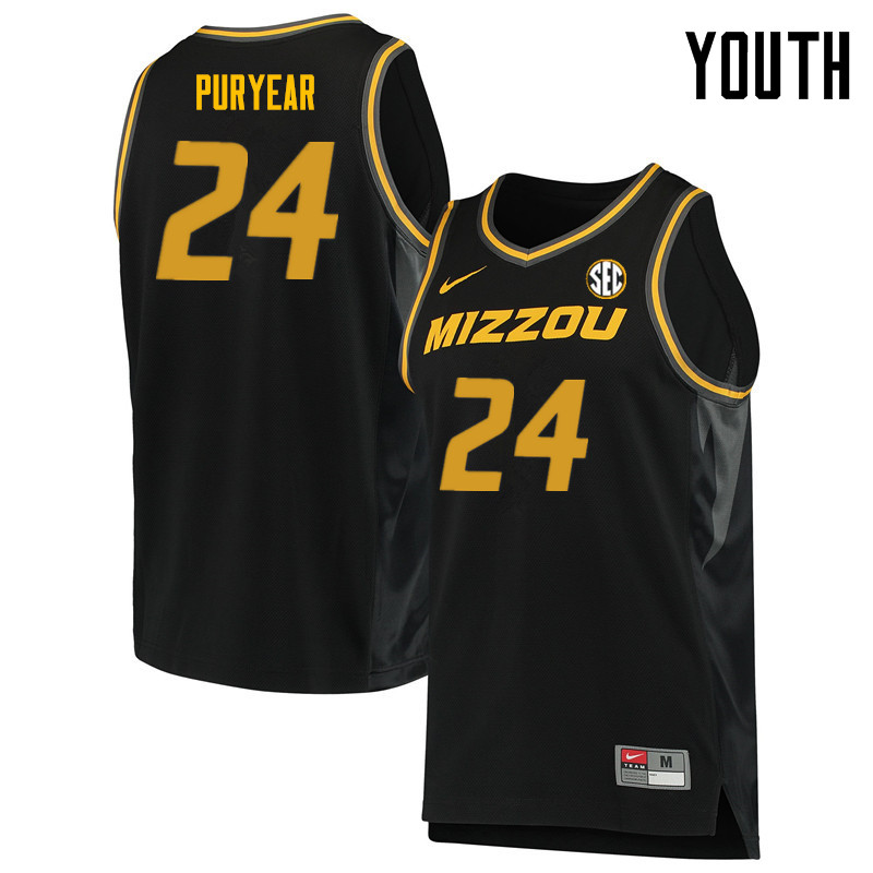 Youth #24 Kevin Puryear Missouri Tigers College Basketball Jerseys Sale-Black