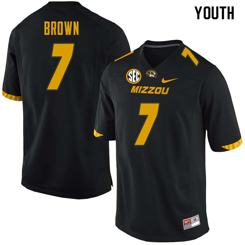 Youth #7 Nate Brown Missouri Tigers College Football Jerseys Sale-Black