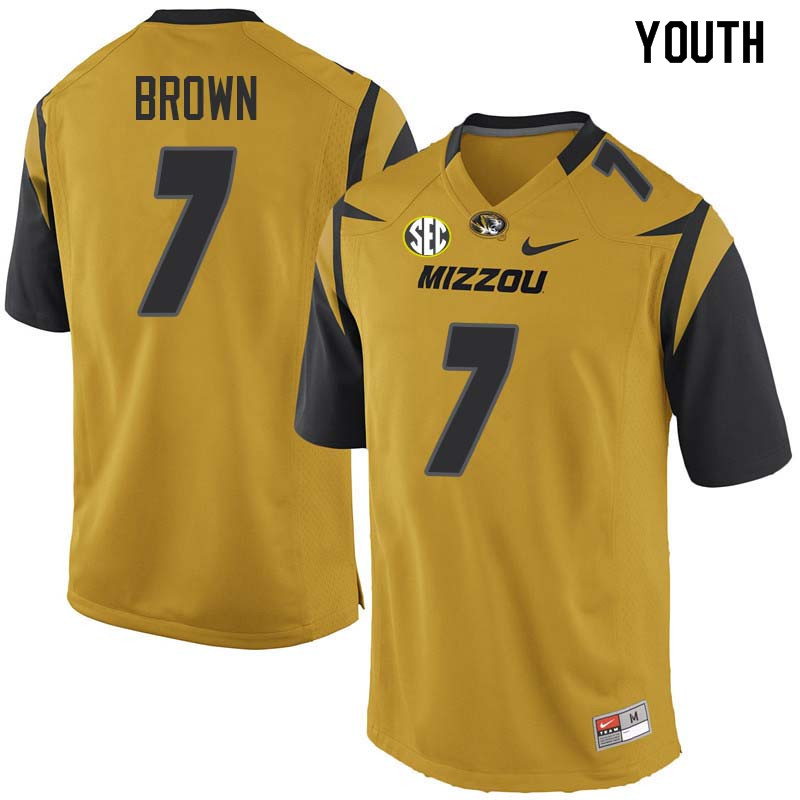 Youth #7 Nate Brown Missouri Tigers College Football Jerseys Sale-Yellow