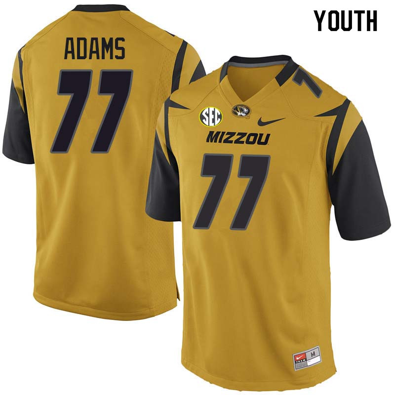 Youth #77 Paul Adams Missouri Tigers College Football Jerseys Sale-Yellow