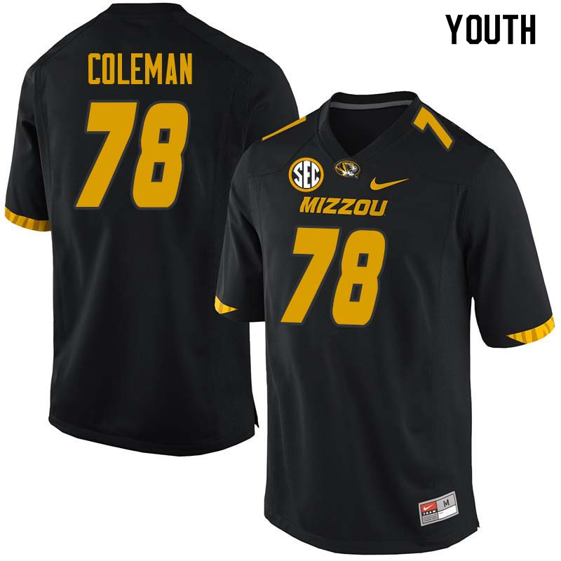 Youth #78 Pompey Coleman Missouri Tigers College Football Jerseys Sale-Black
