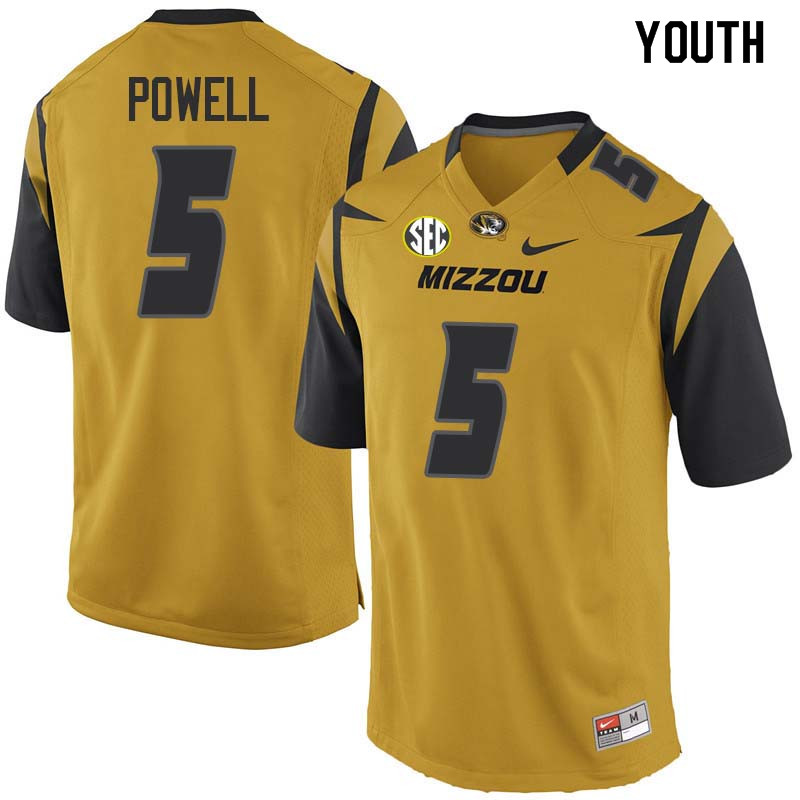Youth #5 Taylor Powell Missouri Tigers College Football Jerseys Sale-Yellow